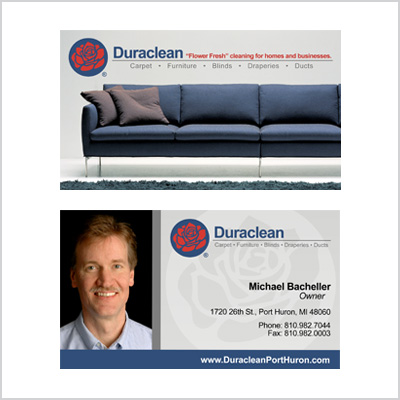 Business card for Duraclean rep