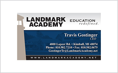 Business card for Landmark Academy