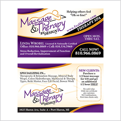 Business card for Massage & Therapy by Design