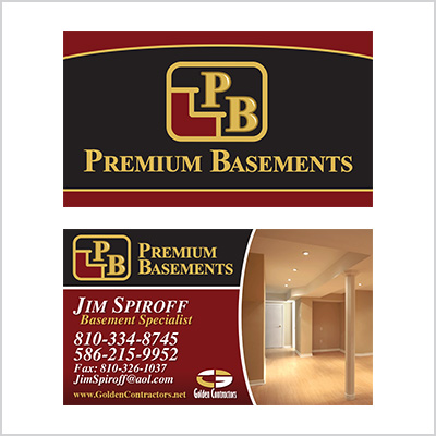 Business card for Premium Basements