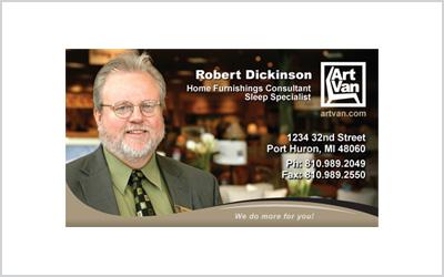 Business card for Art Van sales rep