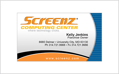 Business card for Screenz Computing Center