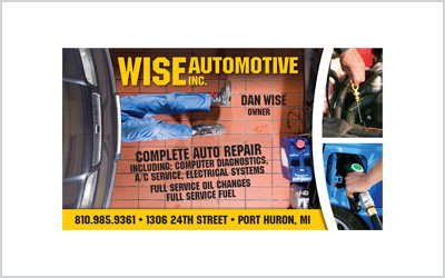 Business card for Wise Automotive