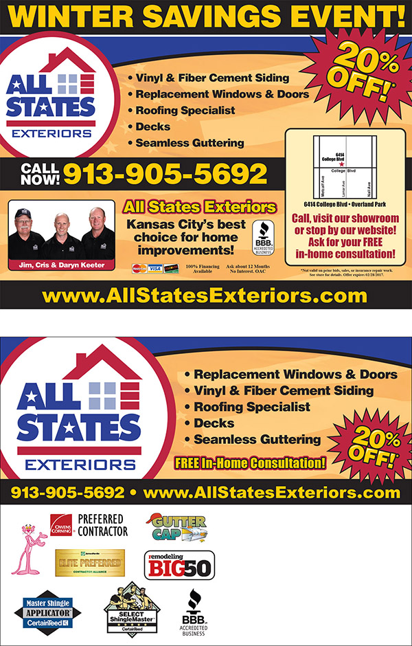 Two-sided postcard for All States Exteriors