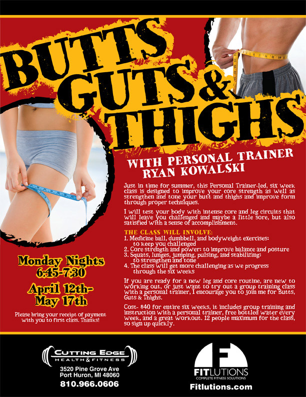 "Flyer for ""Butts, Guts, & Thighs"" Class"
