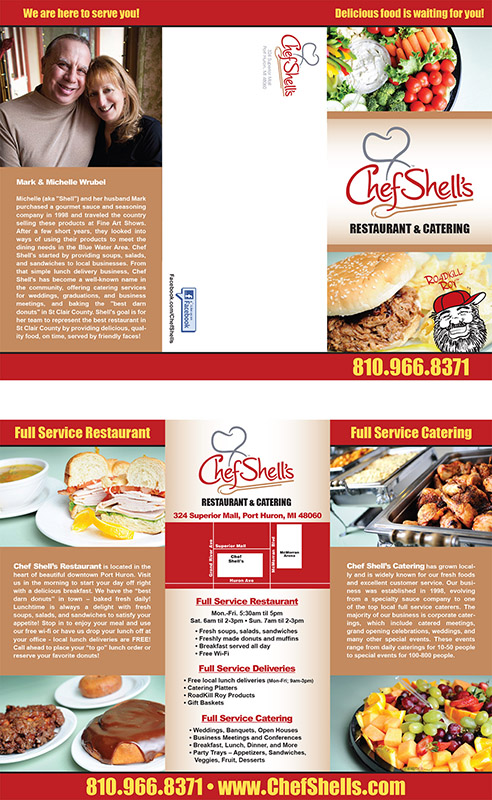 Tri-fold brochure for Chef Shell's