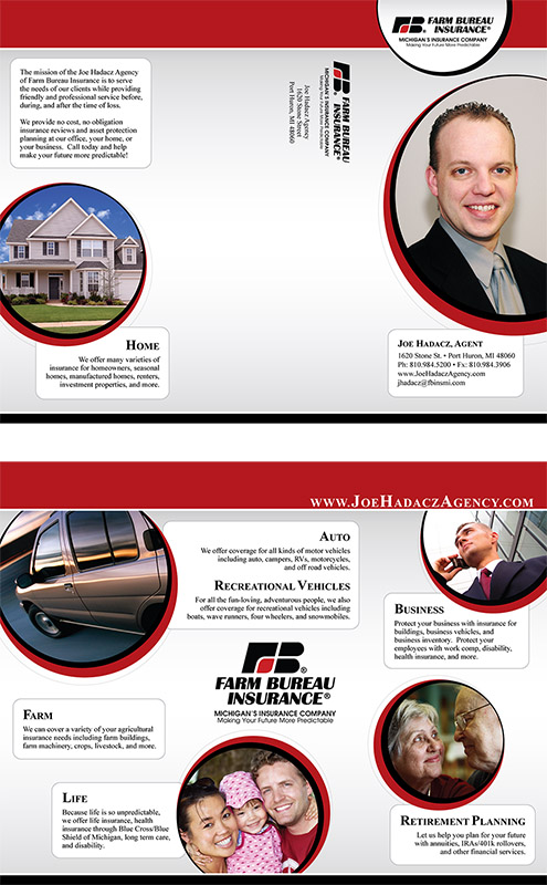 Tri-fold brochure for Farm Bureau Agent Joe Hadacz