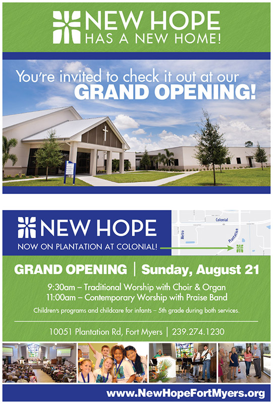 Two-sided postcard for Grand Opening at New Hope Presbyterian Church