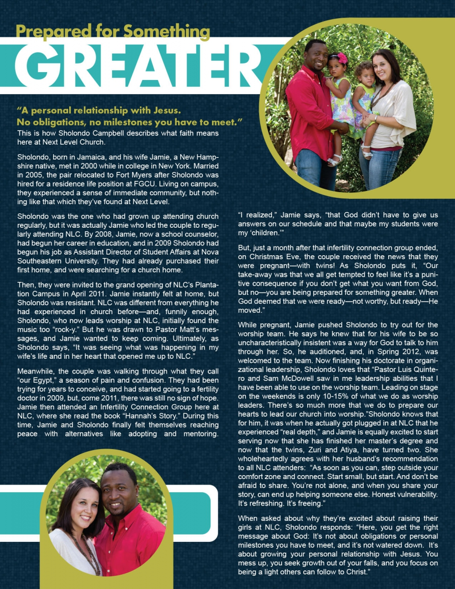 Article Page for Next Level Church's Magazine
