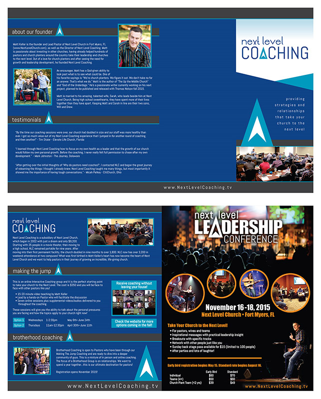 Quad-fold brochure for Next Level Coaching