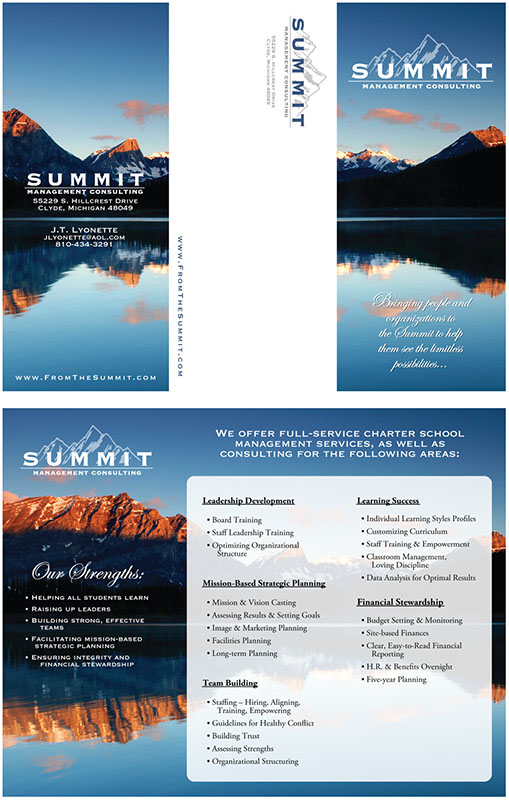 Tri-fold brochure for Summit Management Consulting