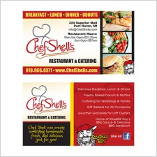 Two-sided business card for Chef Shell's Restaurant & Catering