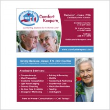 Two-sided business card for Comfort Keepers Agent
