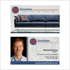 Two-sided business card for Duraclean Agent Mike Bachellor