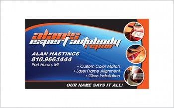 Business card for Alan's Expert Autobody Repair
