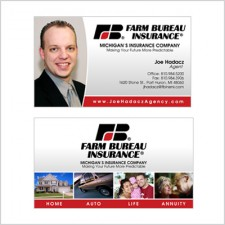 Two-sided business card for Farm Bureau Agent Joe Hadacz