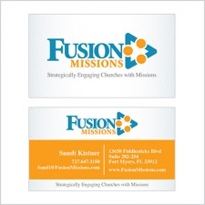 Two-sided business card for Fusion Missions