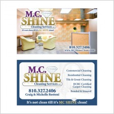 Two-sided business card for M.C. Shine Cleaning Services