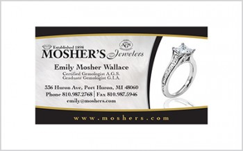 Business card for Mosher's Jewelers