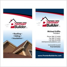 Two-sided business card for Premier Builder