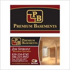 Two-sided business card for Premium Basements