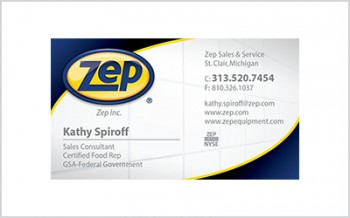 Business card for Zep Inc. Rep Kathy Spiroff