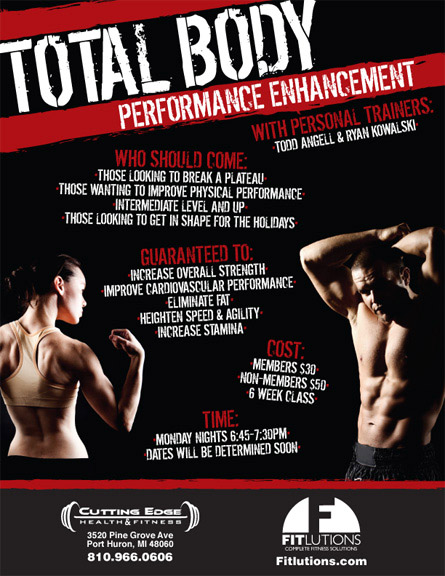 "Flyer for ""Total Body Performance Enhancement"" Class"