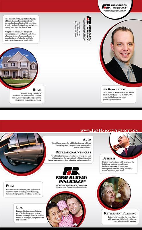 Tri-fold brochure for Farm Bureau Agent Joe Hadacz